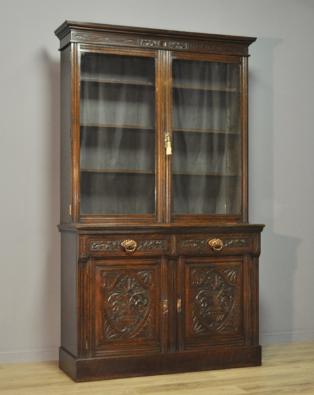 Bon Attractive Large Tall Antique Victorian Carved Oak Glazed Door Bookcase  Cabinet