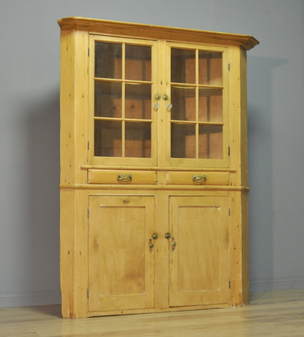 attractive large tall antique victorian pine corner display cabinet cupboard
