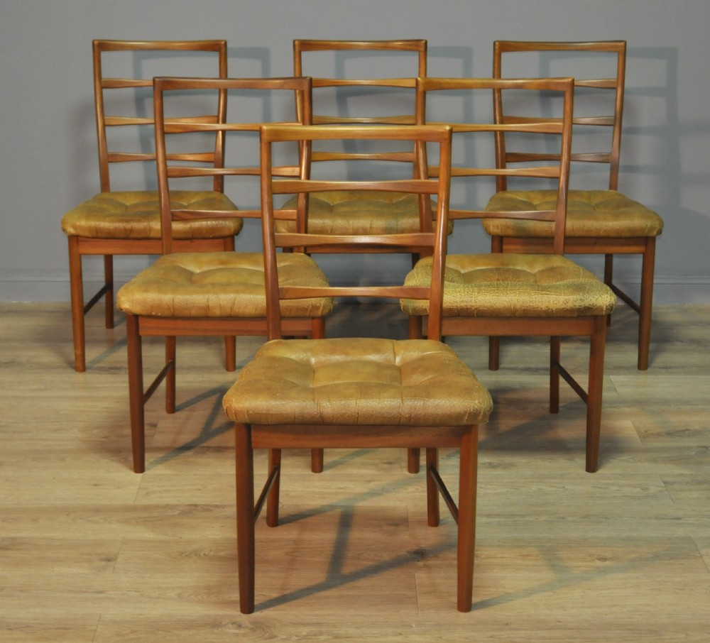 attractive set of six 6 retro 70's mcintosh teak dining chairs reupholstery