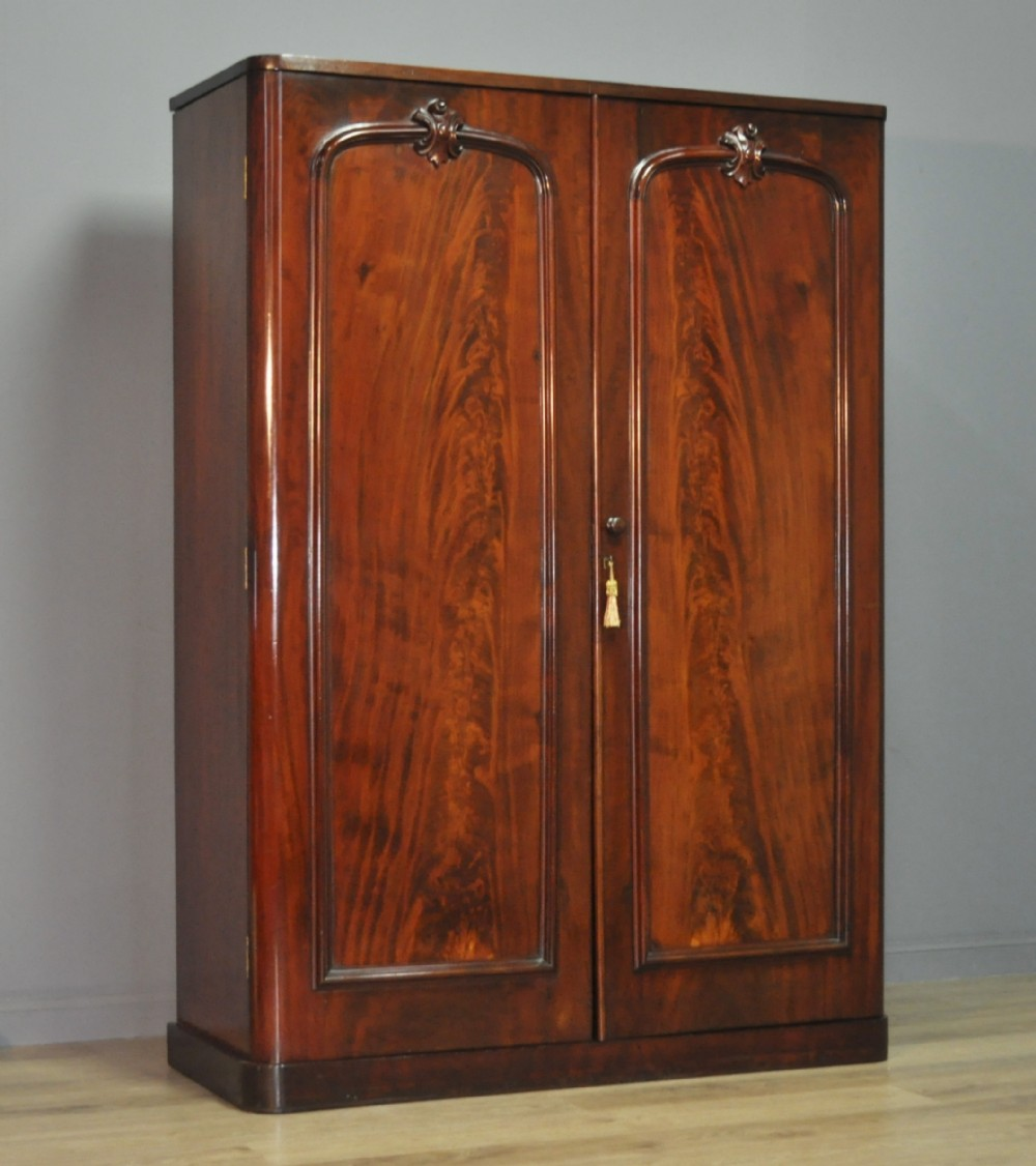 attractive large antique victorian mahogany double fitted wardrobe with drawers
