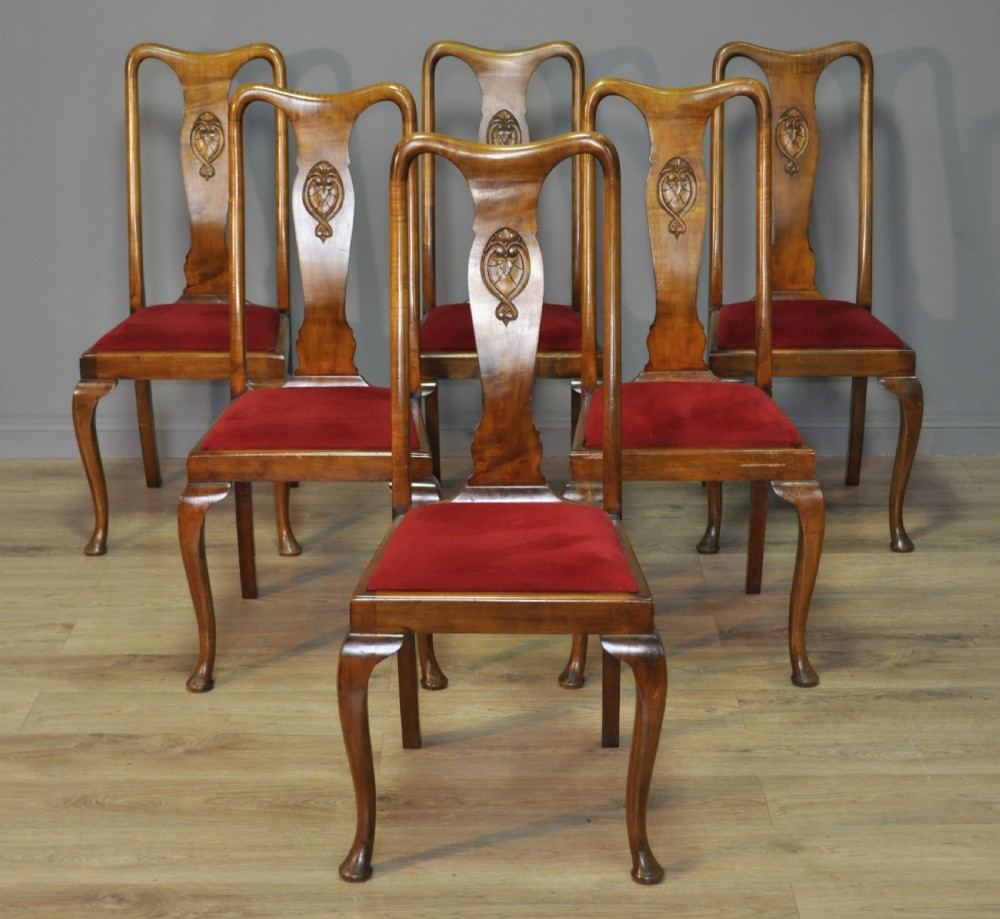 attractive set of 6 six mahogany early 20th cent queen anne style dining chairs
