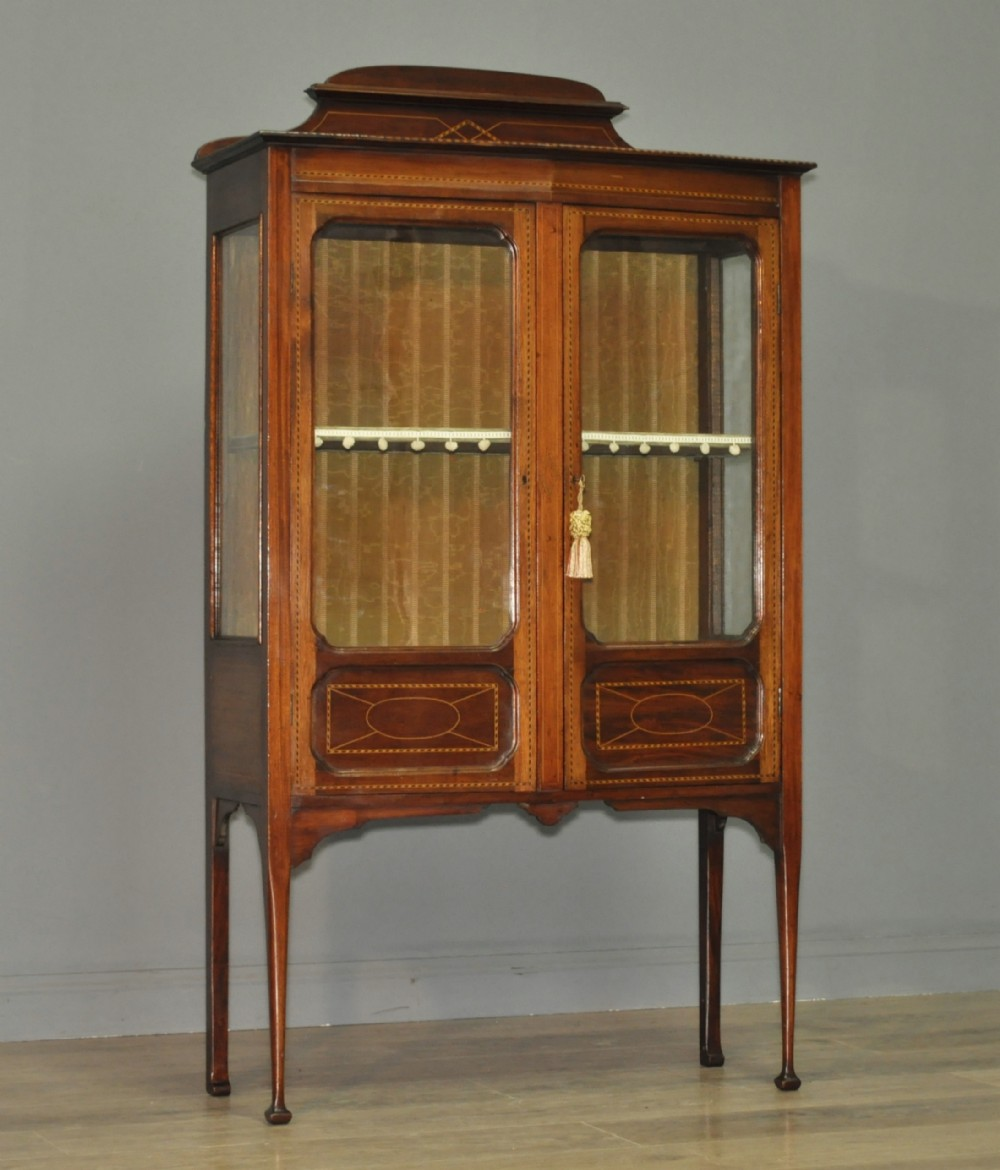 Quality Small Antique Edwardian Inlaid Mahogany Display Cabinet Lined  Shelves