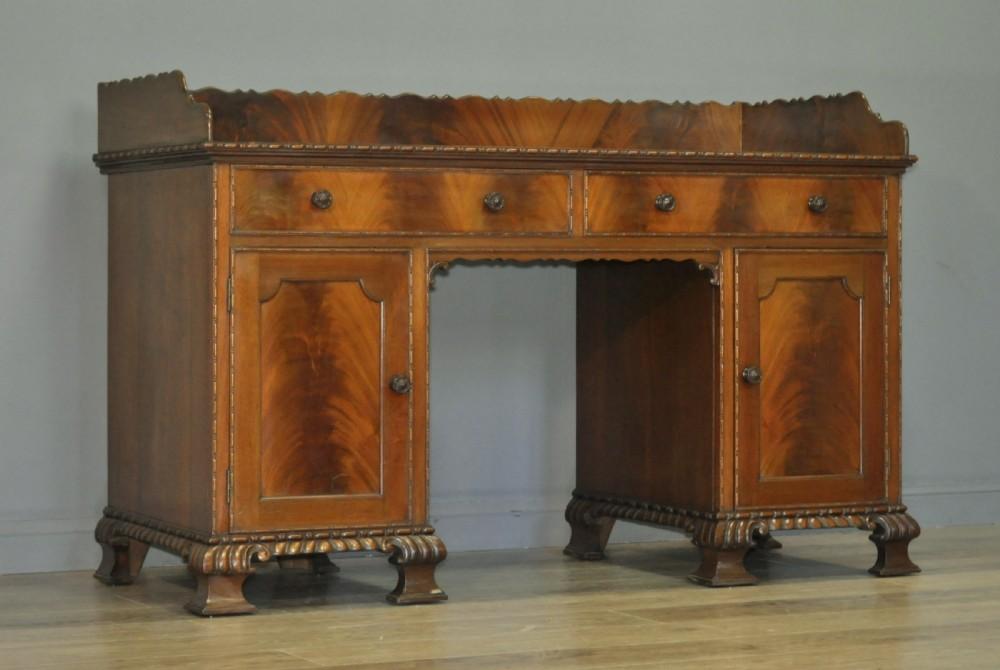 attractive large antique edwardian mahogany twin pedestal desk