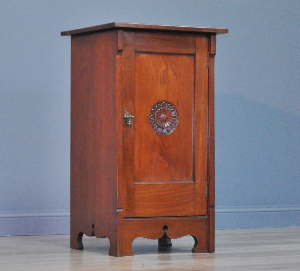 antique victorian arts crafts carved walnut bedside cabinet