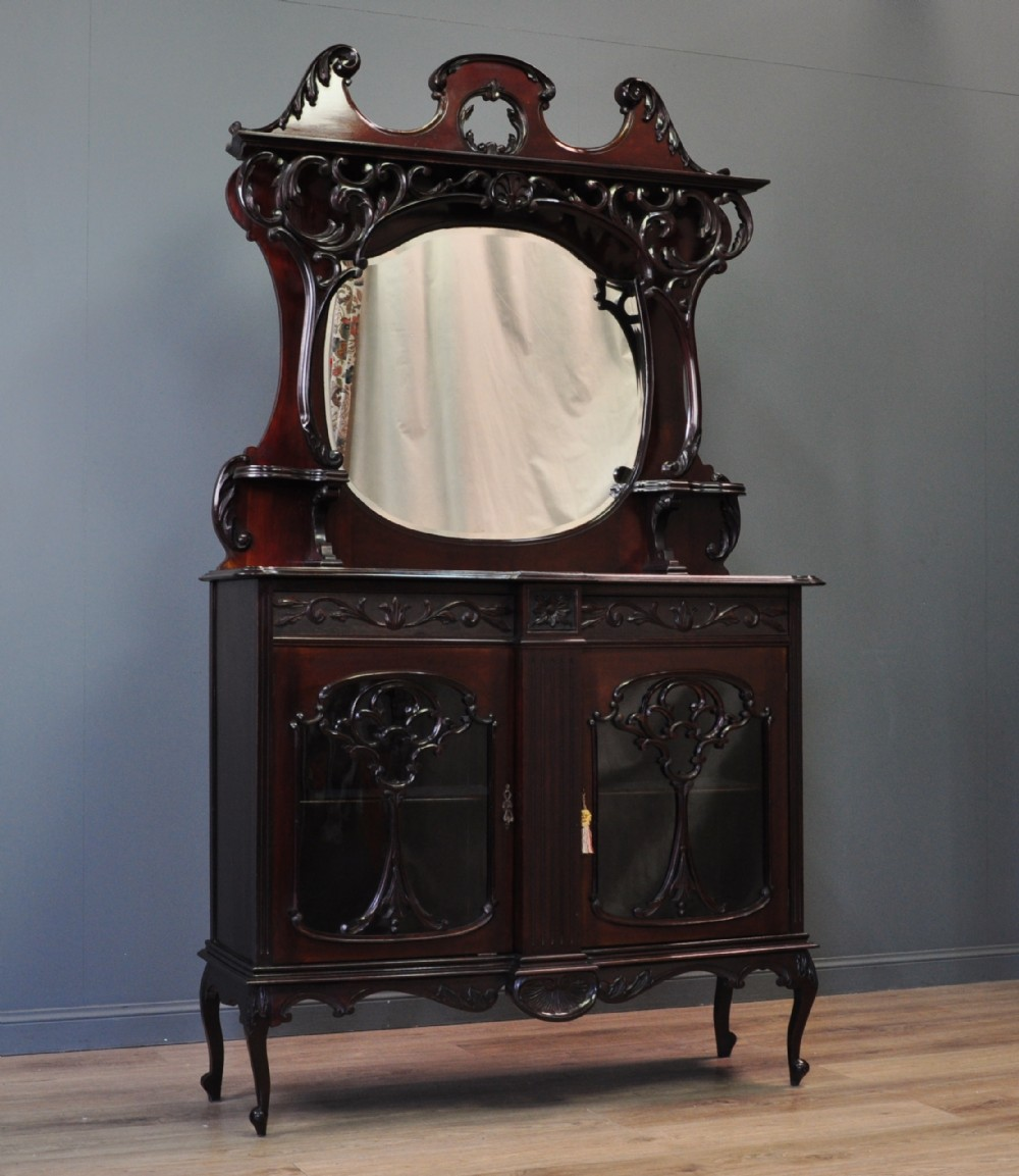 antique victorian carved mahogany mirror back sideboard display cabinet