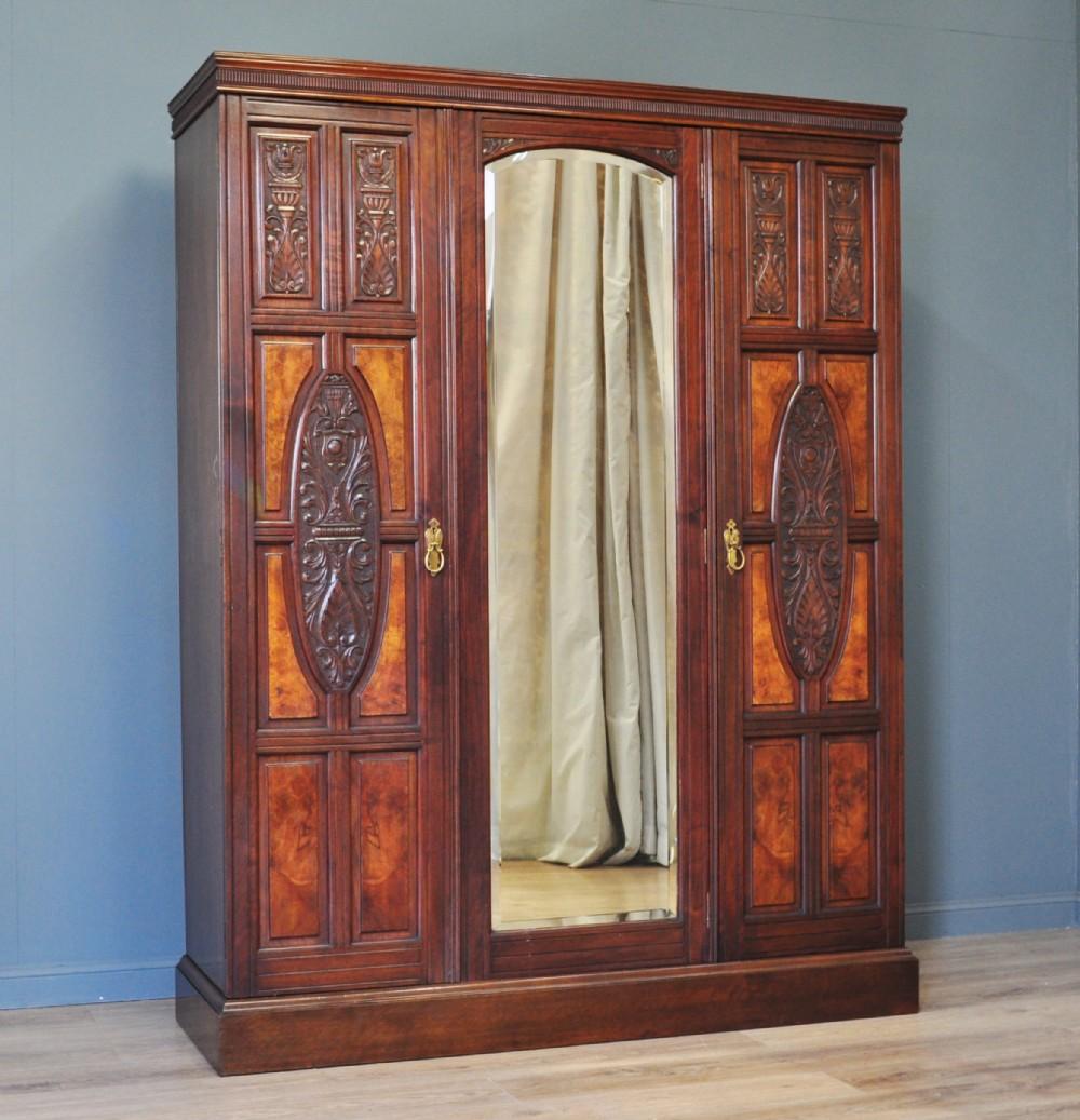 large antique victorian carved burr walnut mirror door triple wardrobe