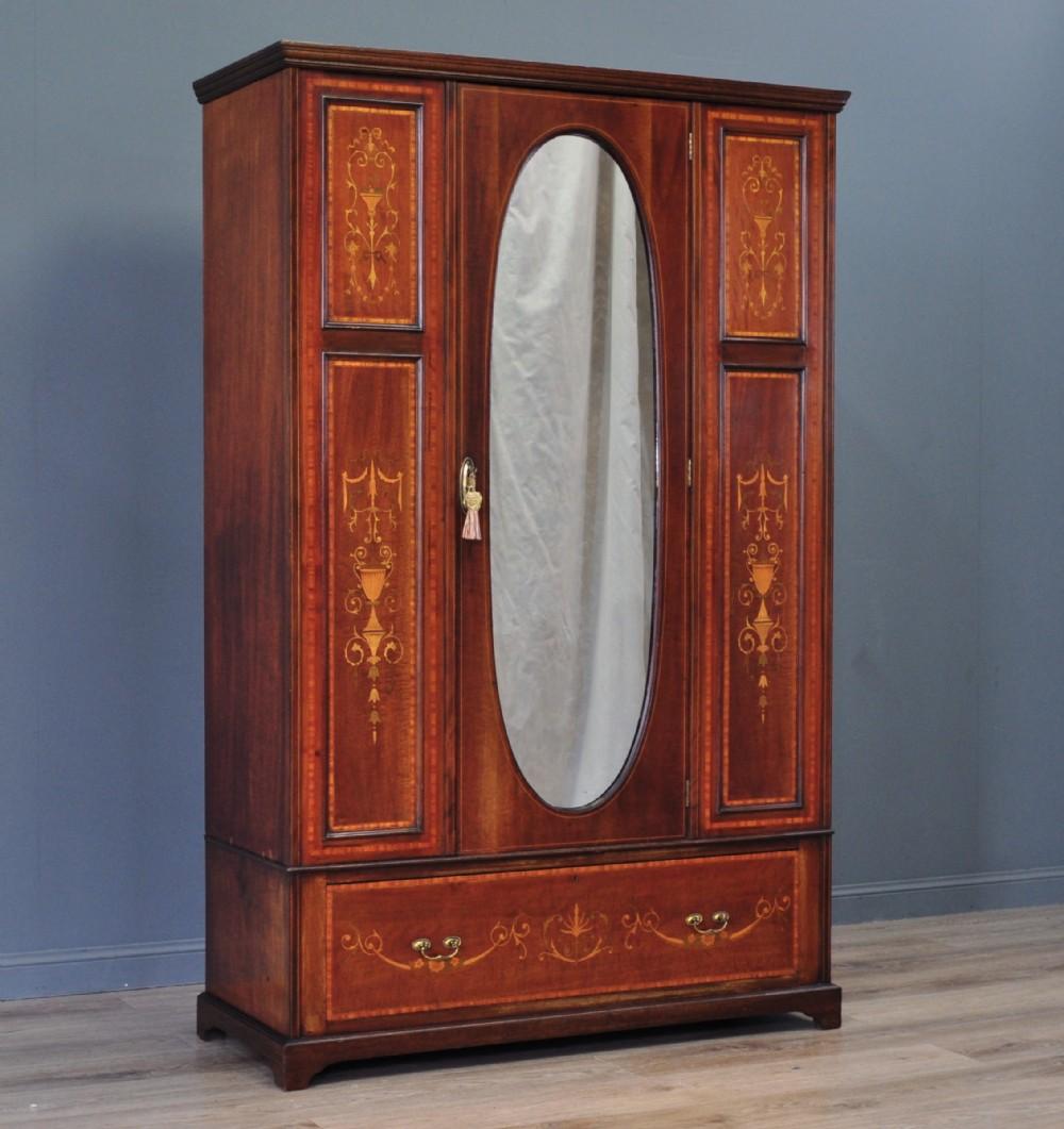 large antique edwardian inlaid mahogany mirror door wardrobe with drawer base