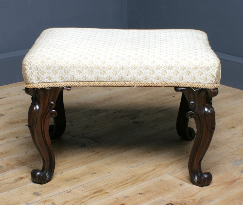 attractive antique victorian upholstered carved rosewood stool