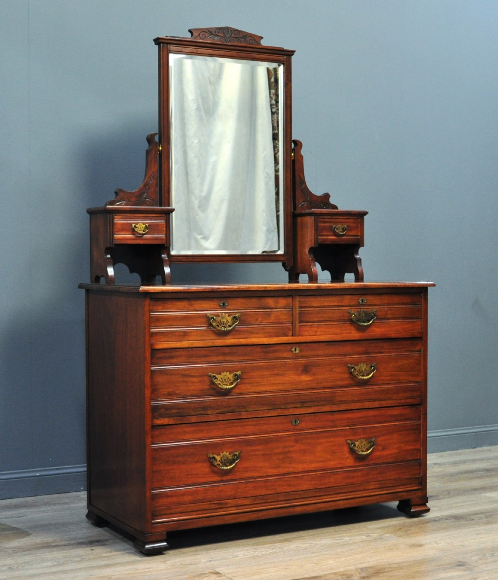 attractive large antique victorian walnut four drawer dressing table chest