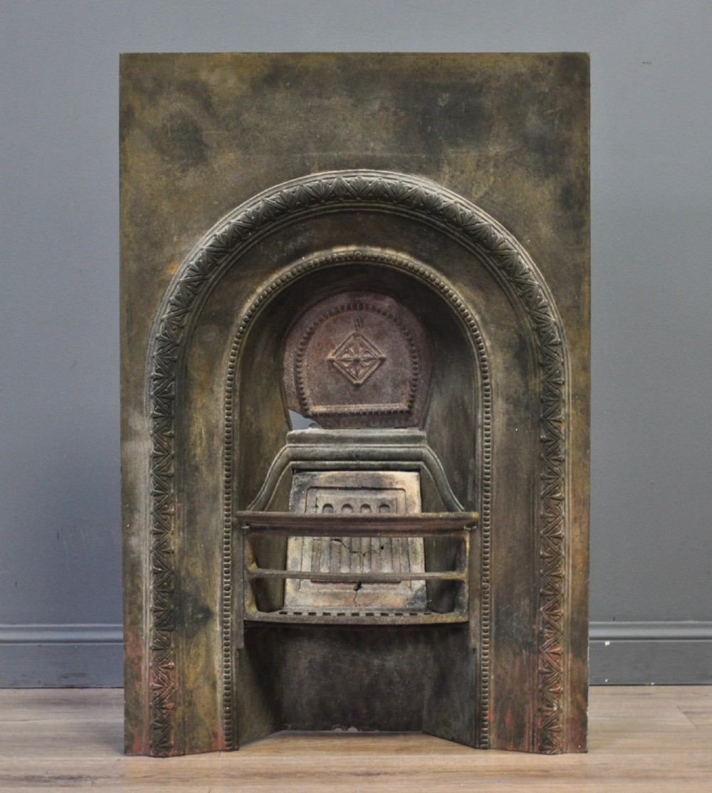 Attractive Antique Small Cast Iron Fire Place With Hearth