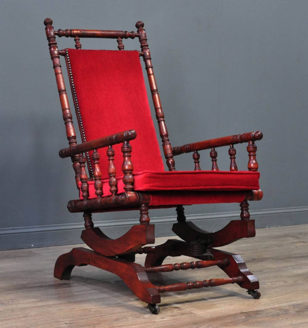 attractive antique victorian upholstered rocking chair armchair