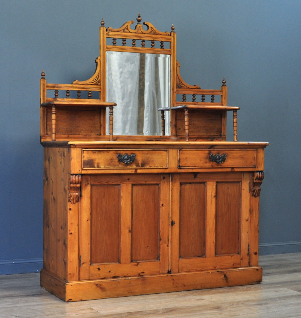 attractive large antique victorian rustic pine mirror back sideboard cabinet