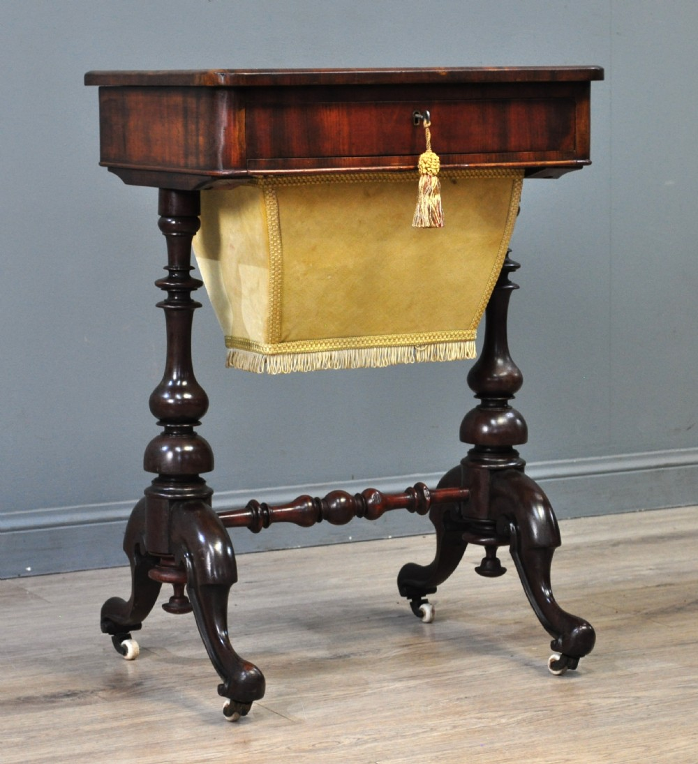 attractive antique victorian mahogany sewing box work table
