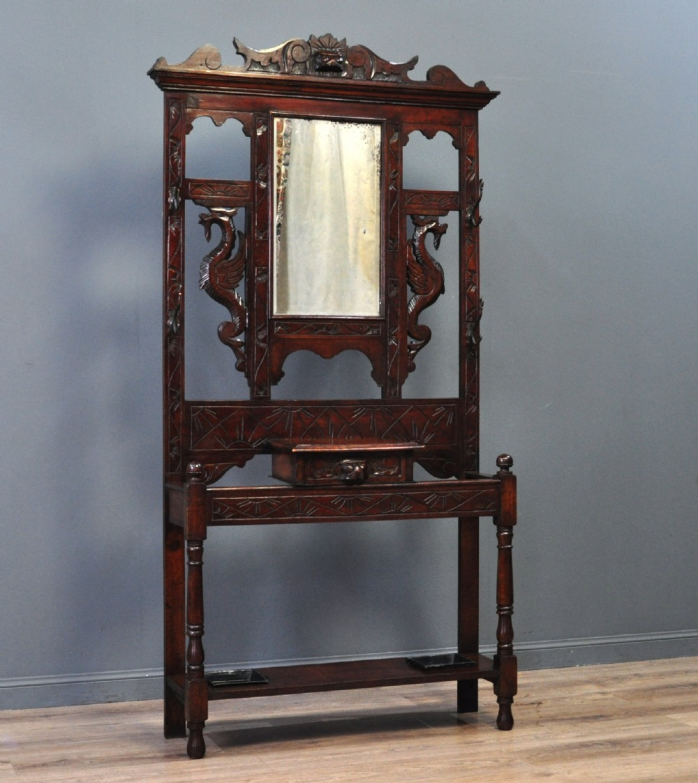 attractive antique victorian carved oak mirror back hall coat stick stand