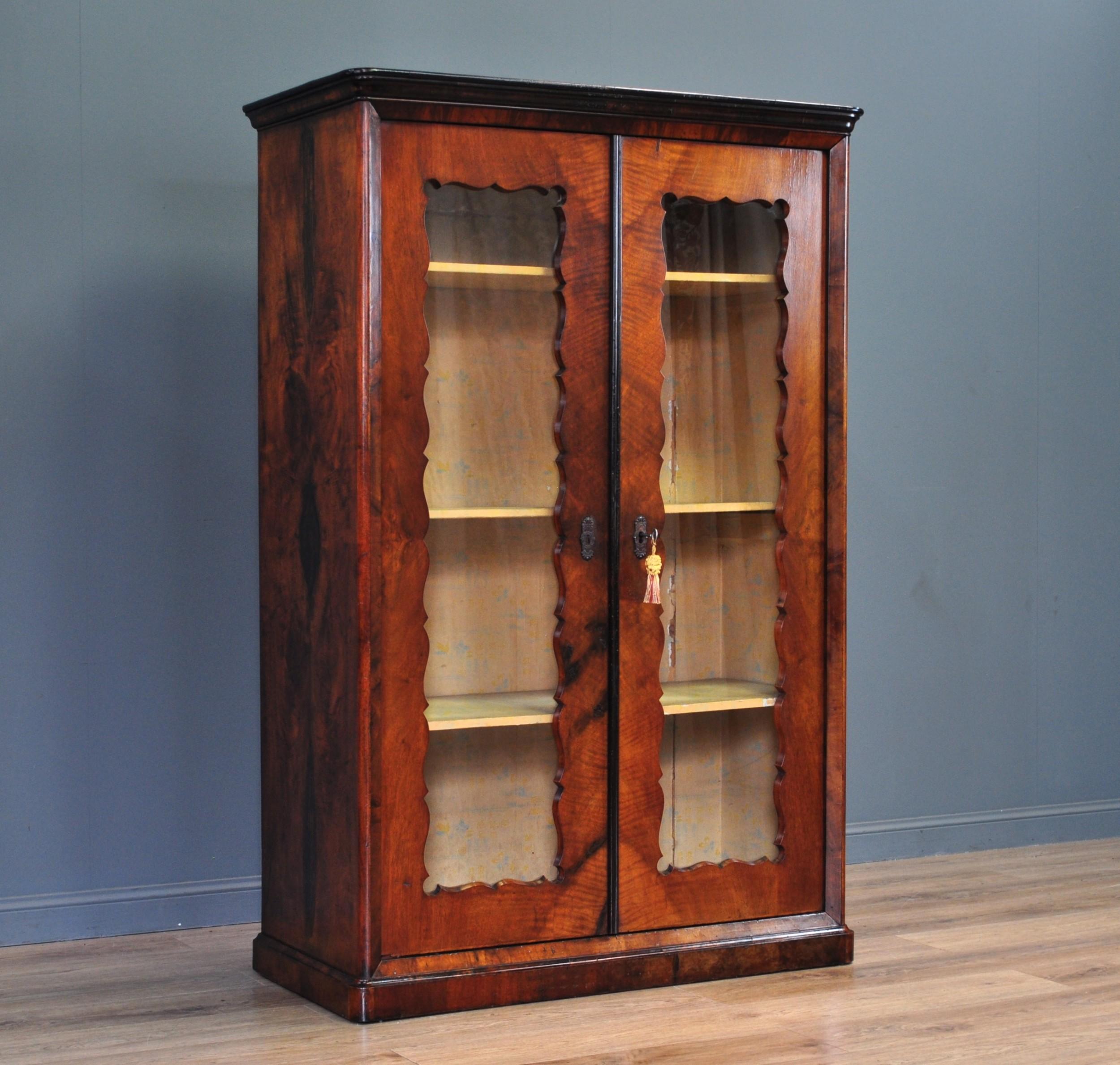 attractive large antique victorian walnut double glazed door bookcase cabinet