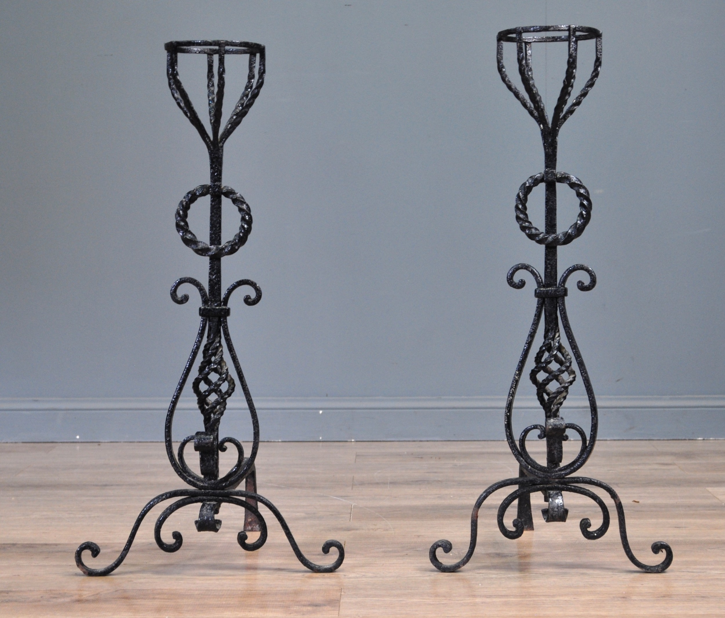 attractive pair of antique wrought iron fire dogs