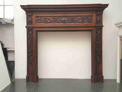 victorian carved solid oak fireplace