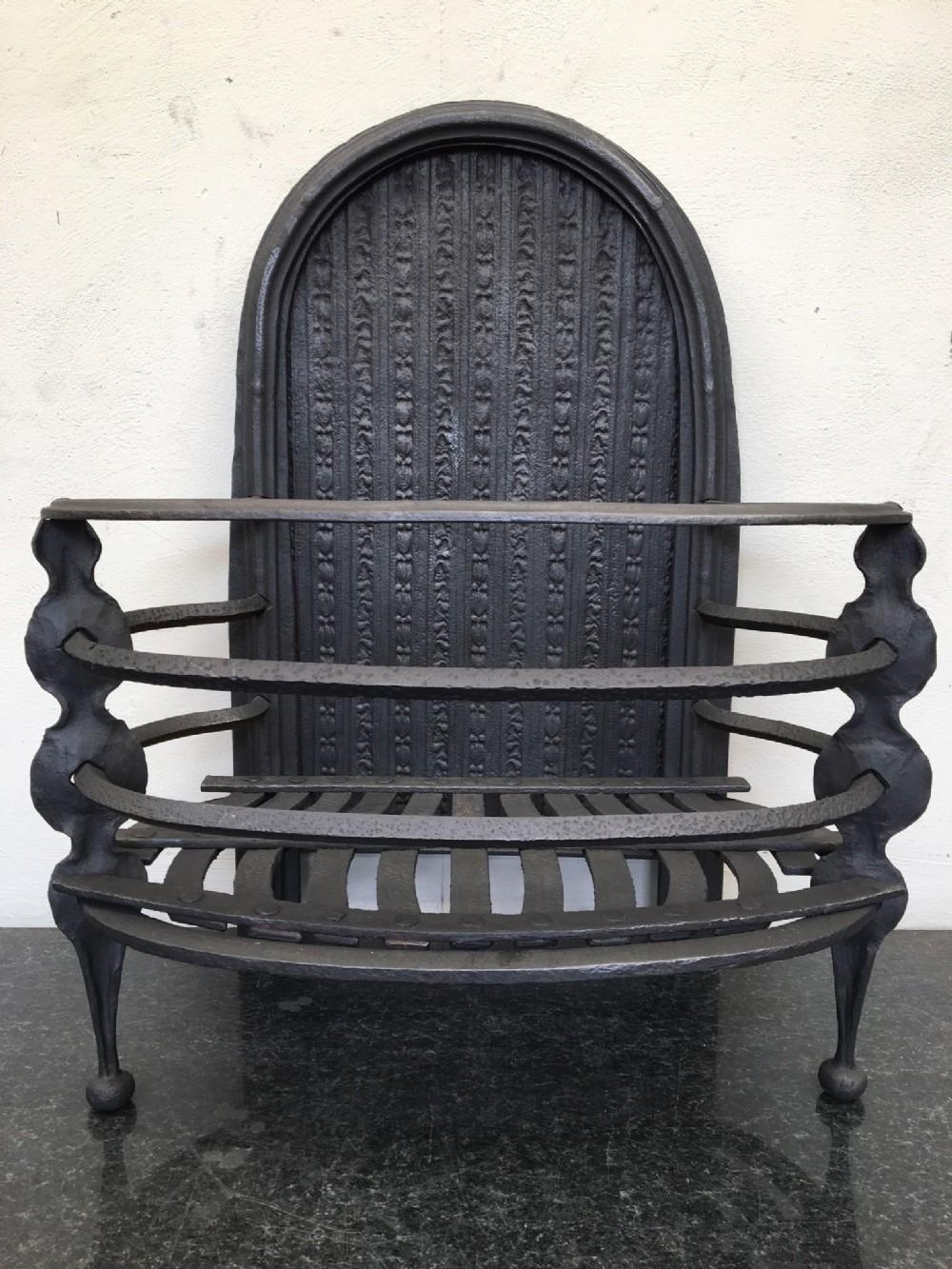 georgian cast iron open fire grate basket fireplace
