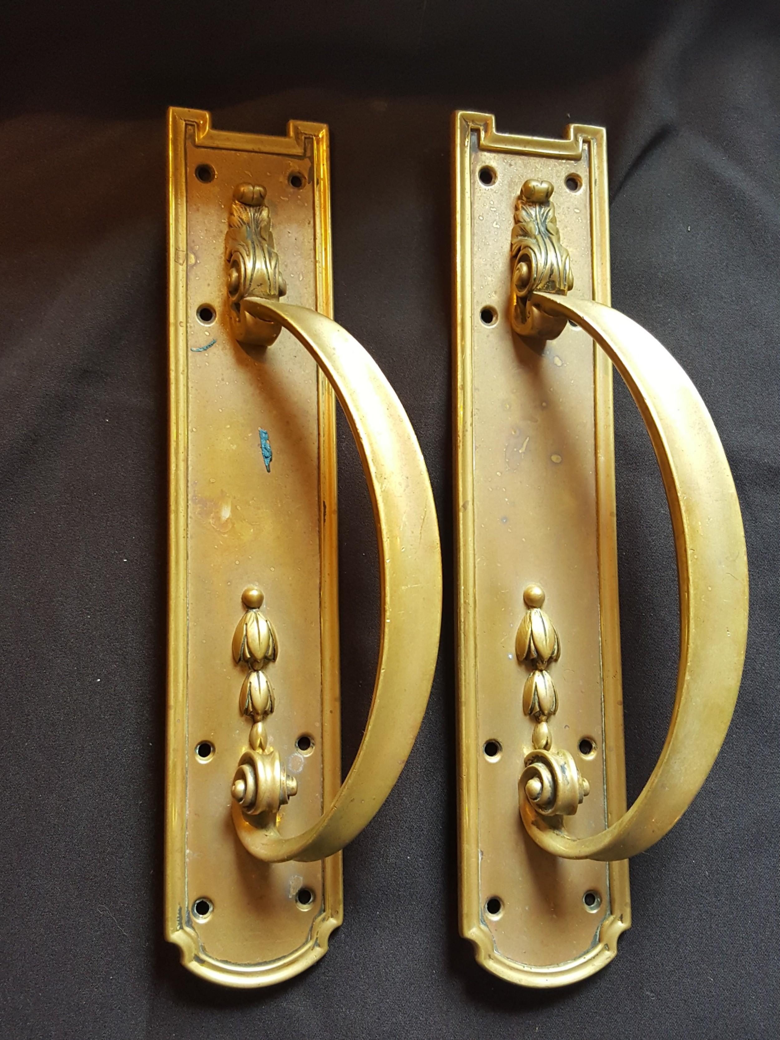 pair of brass victorian door pull handles