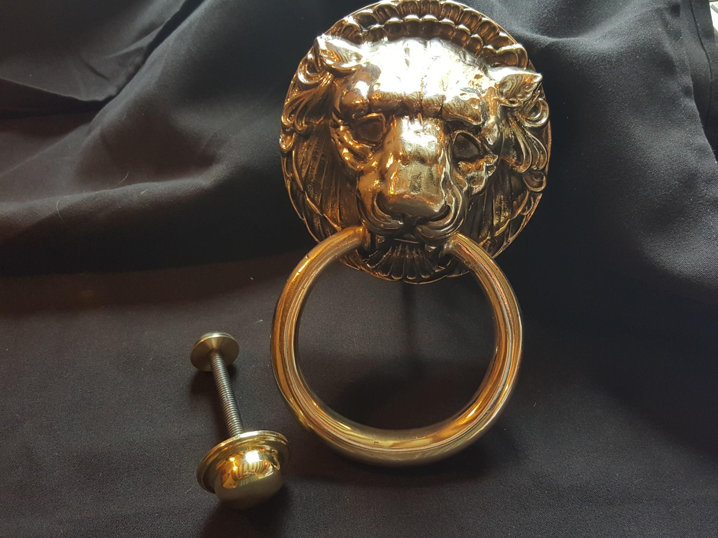 brass victorian lion head door knocker