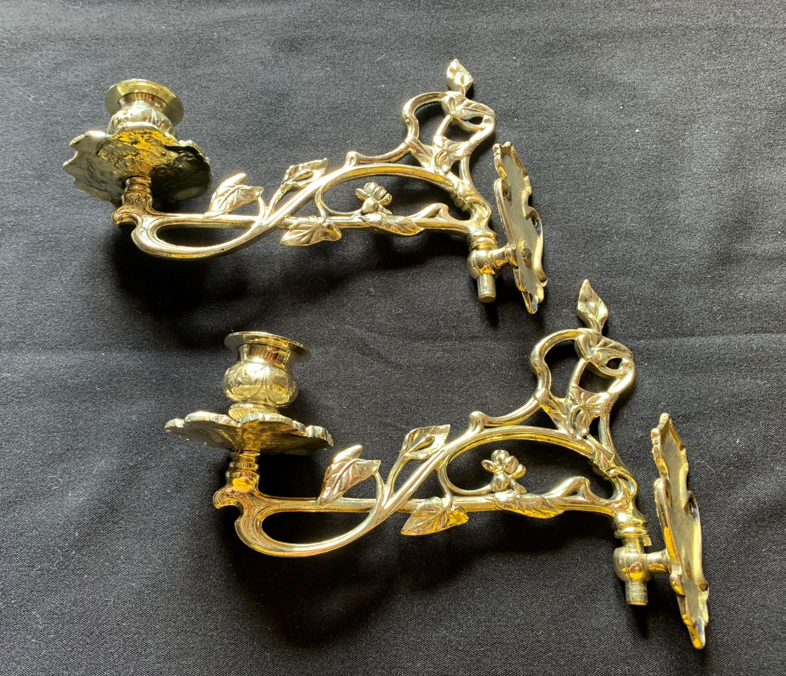 one pair of brass victorian candle sconces