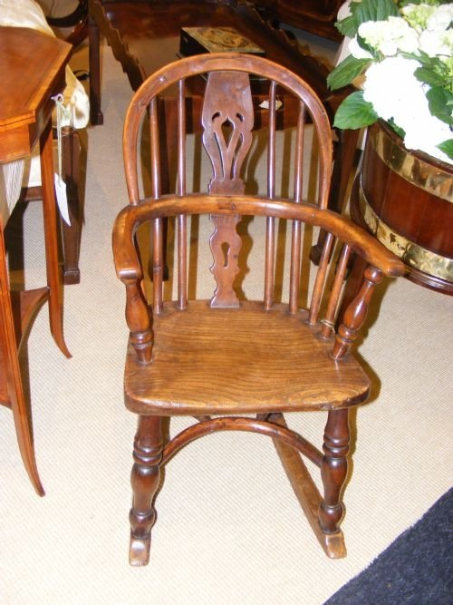 early elm childs rocking windsor chair