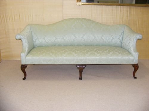 Queen Anne Style Mahogany 3 Seater Camel Back Sofa ...