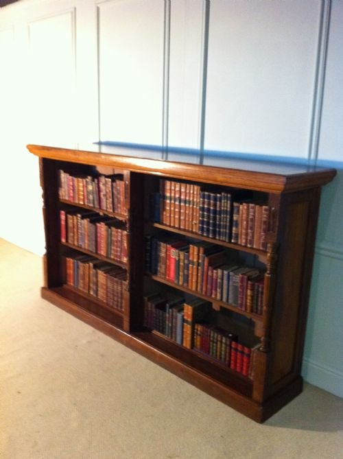 quality mahogany and golden english oak bookcase of substantial proportions - photo angle #2