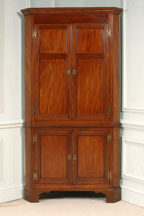 george iii sheraton mahogany double corner cupboard