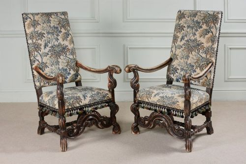19th century pair of fabulous high back well carved arm chairs in original condition