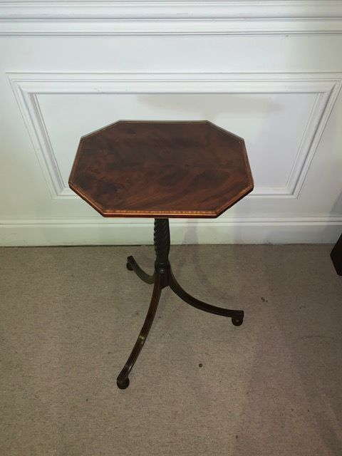 a rare pair of fine quality sheraton mahogany wine table with spiral fluted stem in excellent condition