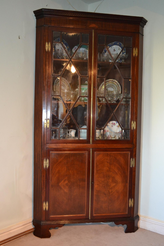 sheraton mahogany double corner cupboard