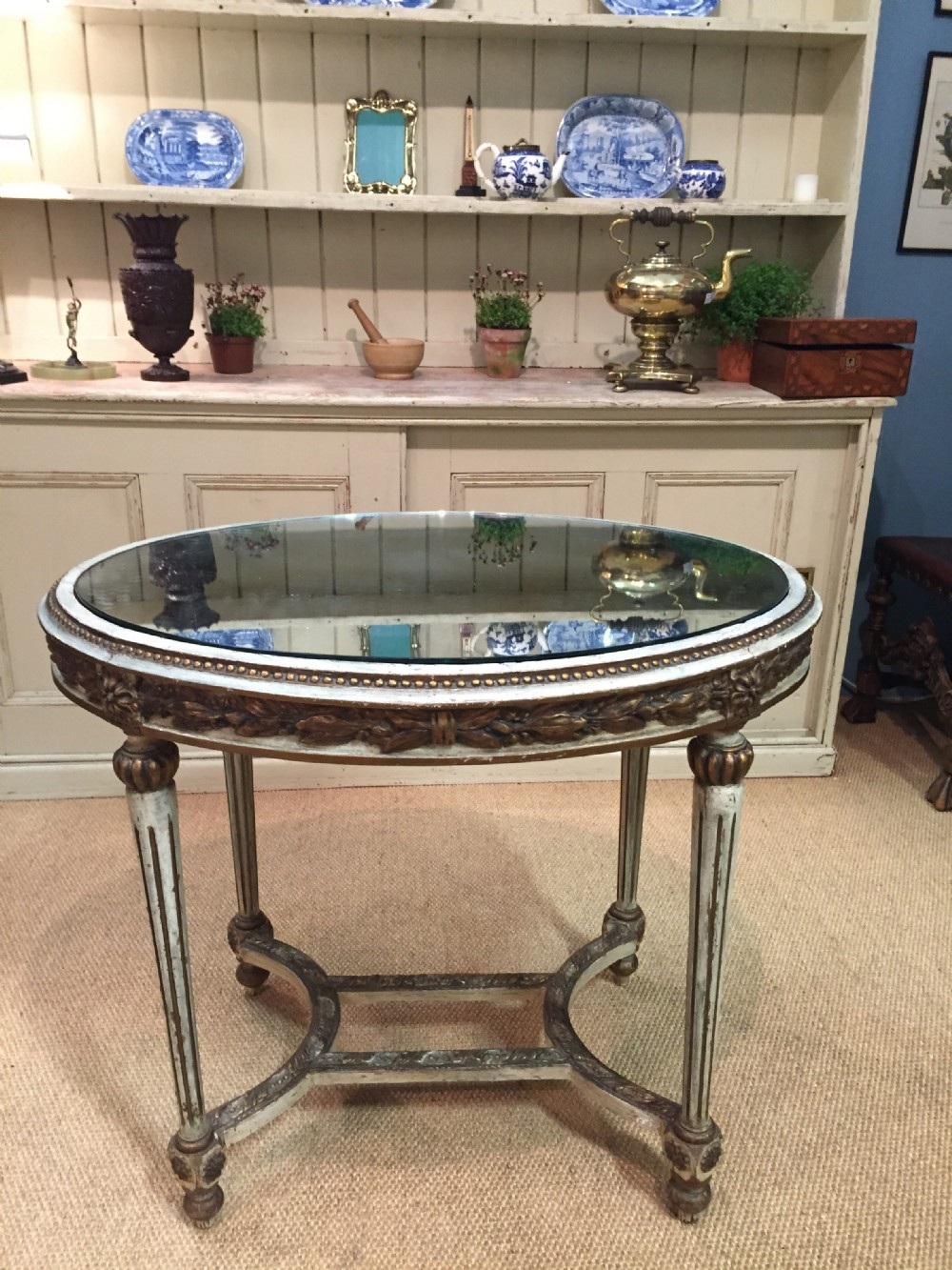 fantastic 19th century french oval centre table with mirror glass top