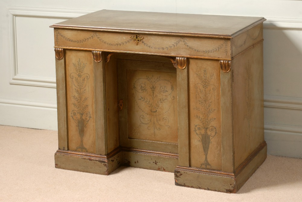 lovely knee hole dressing table with original decorative paintwork