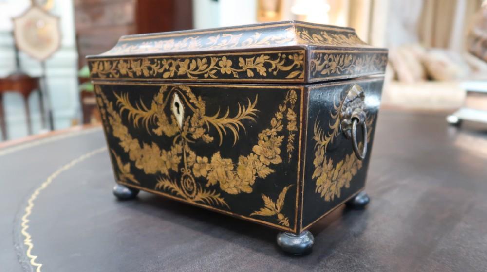 rare regency penwork tea caddy
