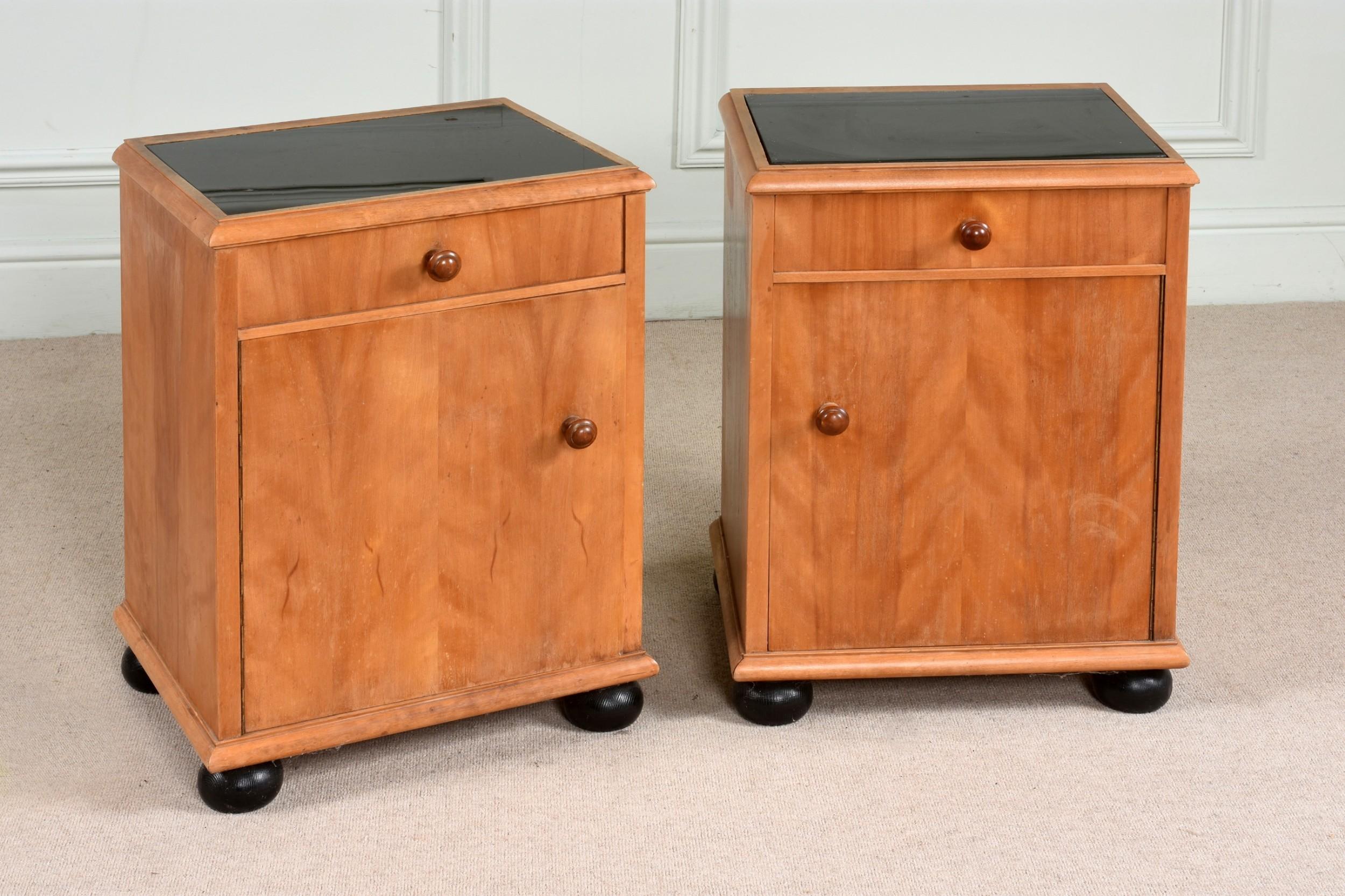 fabulous pair of art deco satinbirch bedside cupboards