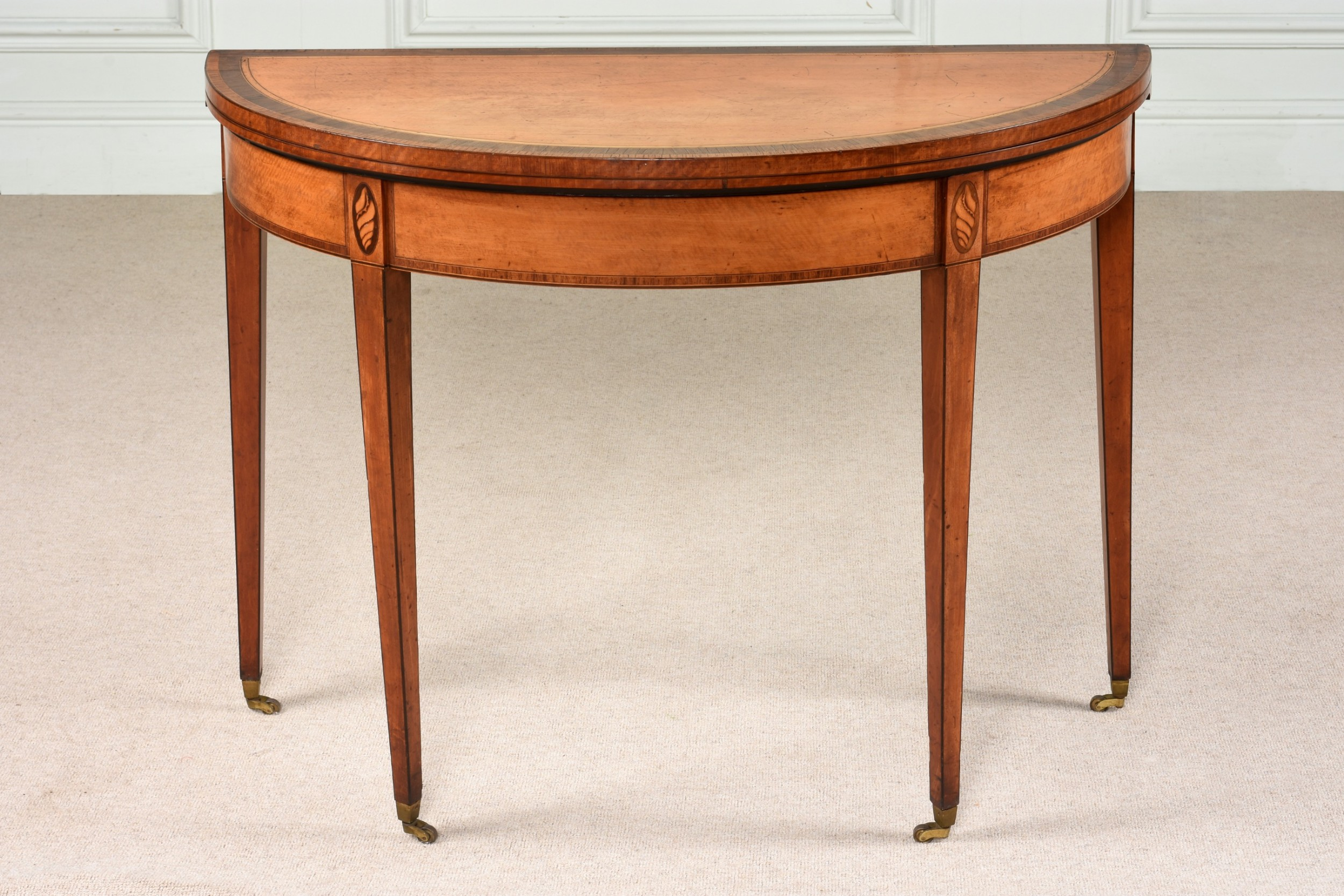 superb 18th century george iii sheraton demilune card table c1780