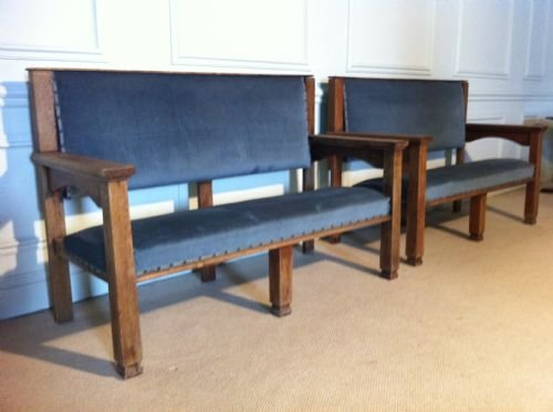pair of large victorian oak hall seats