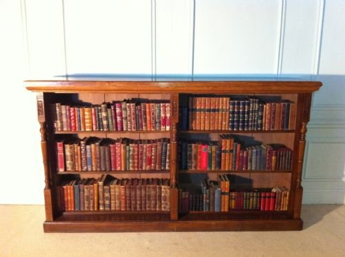 quality mahogany and golden english oak bookcase of substantial proportions