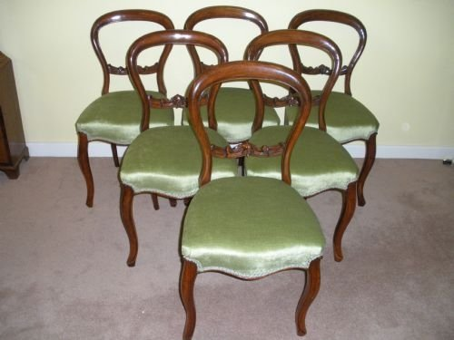 Set of 6 victorian walnut dining chairs 58217 for Plexiglas beistelltisch 3er set
