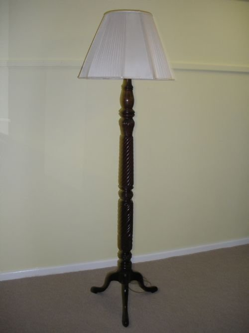 victorian carved mahogany standard lamp