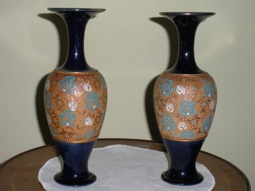 Pair Of Royal Doulton Stoneware Spill Vases 114099