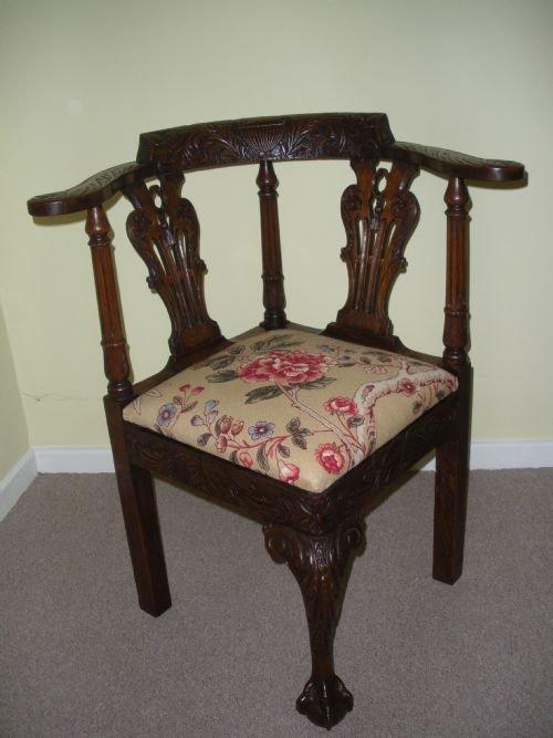 victorian george ii style carved oak corner chair. antique photo - Victorian George Ii Style Carved Oak Corner Chair 121403