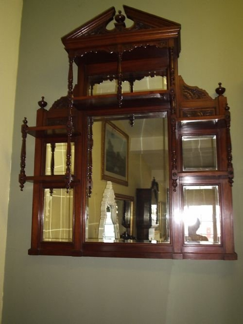 Victorian Mahogany Over Mantel Mirror 33796
