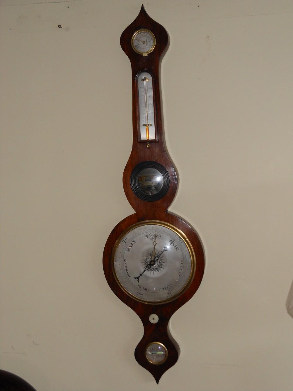 early 19th century rosewood banjo barometer