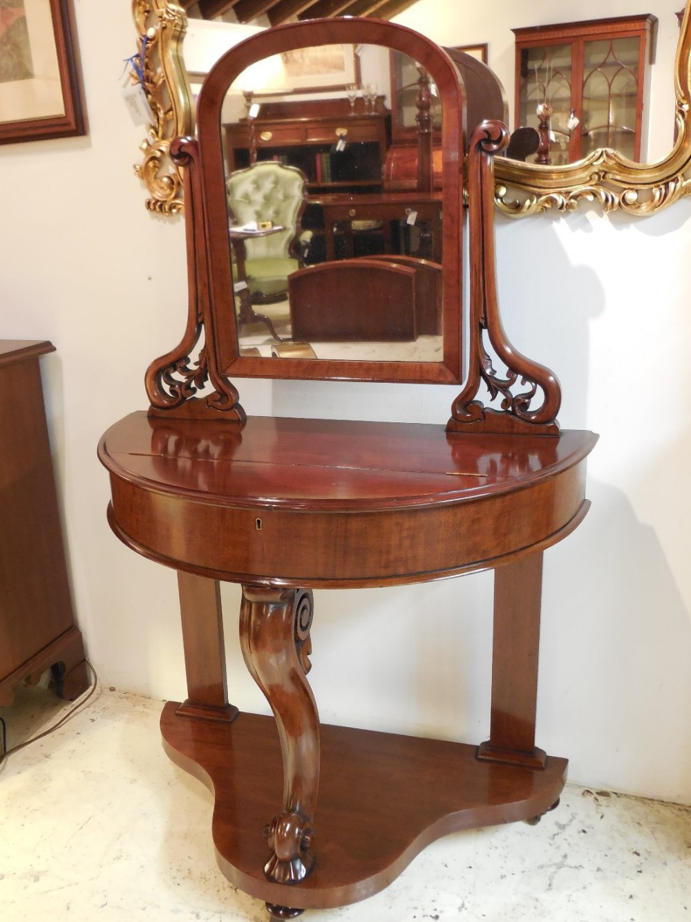 Victorian dressing table - Victorian Mahogany Duchess Demilune Dressing Table