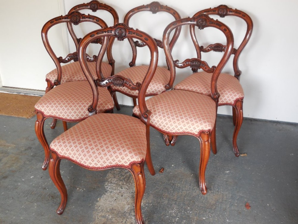 good set of 6 victorian walnut dining chairs