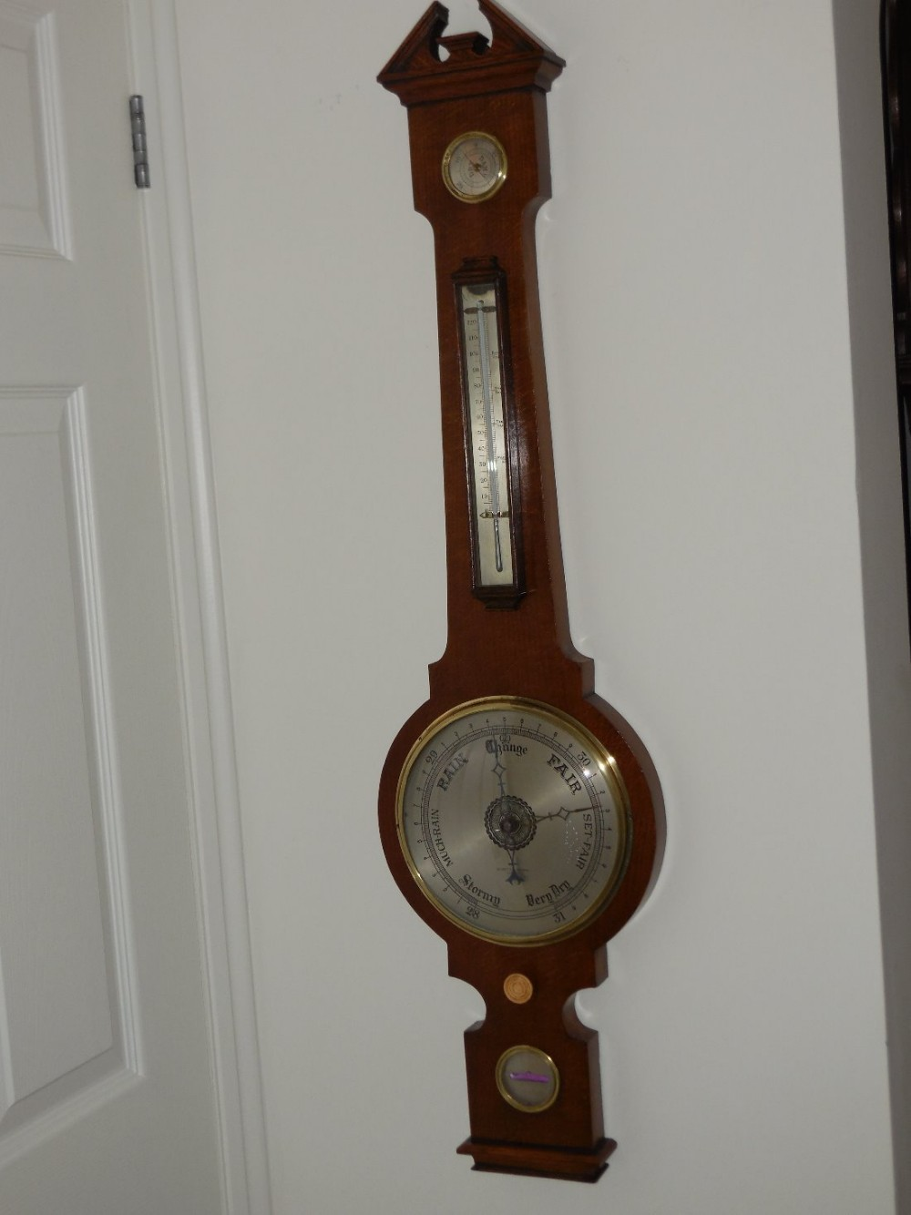 oak wheel banjo barometer