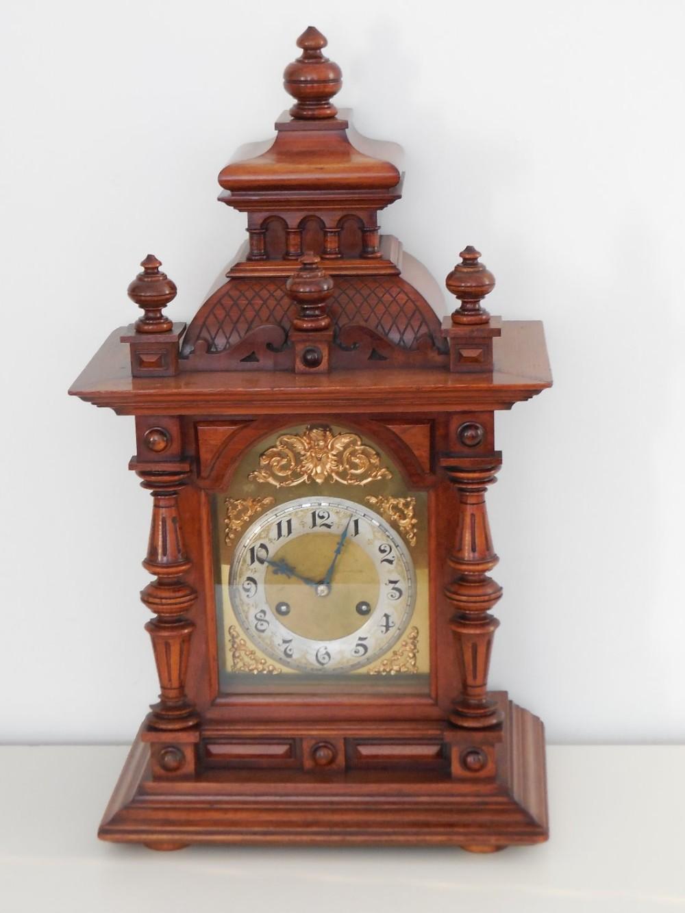 19th century german walnut cased bracketmantel clock by junghams