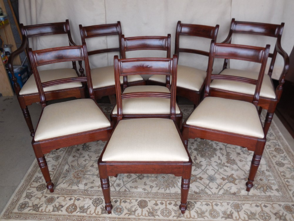 a stunning set of 8 regency dining chairs